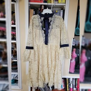 Ivory lace free people dress sz m